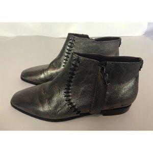 Nicole Miller Silver Booties Ankle Boots Size 8 M